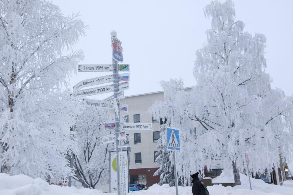 Talvinen kuva ystävyyskaupunkien tienviitoista kaupungintalon edustalla.