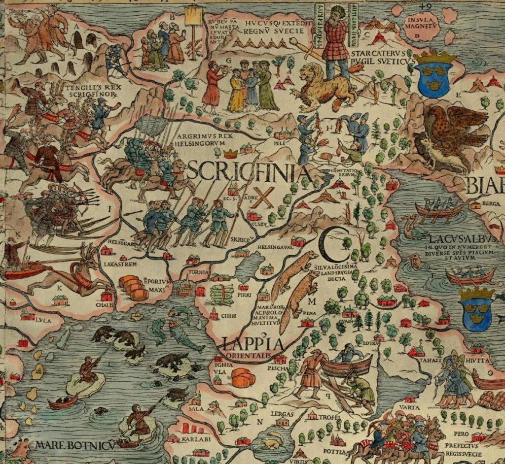 Carta Marina, Pohjoismaiden kartta. Kartan otsikon suomennos: Merikartta ja kuvaus pohjoisista maista sekä niissä olevista ihmeellisistä asioista, mitä suurimmalla huolellisuudella valmistettu Herran vuonna 1539.