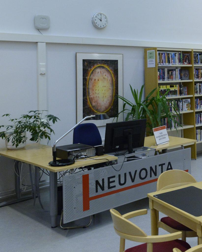 Kari Holman maalaus Keminmaan rumpu Kemin kirjastossa
