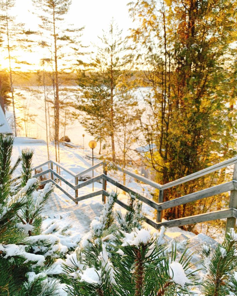 Aurinkoinen talvimaisema, lumiset puuportaat.