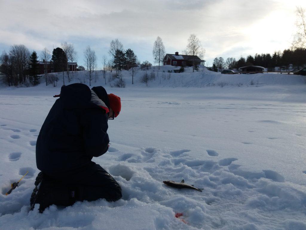 Mies pilkillä jäällä, kala vieressä lumessa.