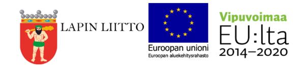 Logorivistössä Lapin liiton, Euroopan aluekehitysrahaston ja Vipuvoimaa-ohjelman logot.