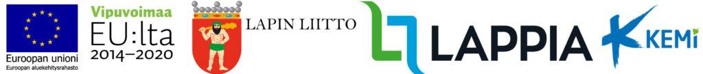 Toimijoiden logot, eli Eu aluekehitysrahasto, Eu vipuvoimaa, Lapin liitto, Lappia ja Kemin kaupunki