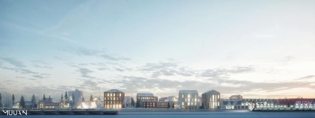 Suunnitelmien mukainen näkymä Kemin kaupunkikeskusta asemalta päin.