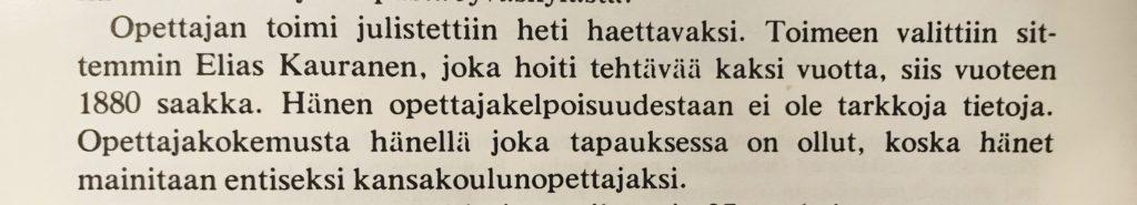 Tekstiä Elias Kaurasen valitsemisesta opettajan toimeen