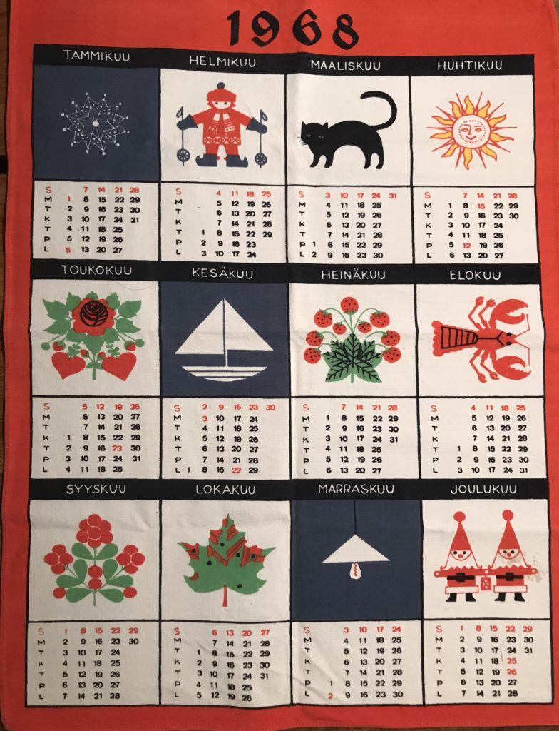 Kankainen keittiöpyyhe, jossa kalenteri vuodelta 1968