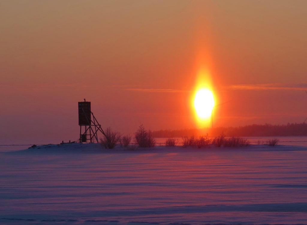 Sinipunainen talvinen kuva merenjäältä, aurinko loistaa kirkkaana