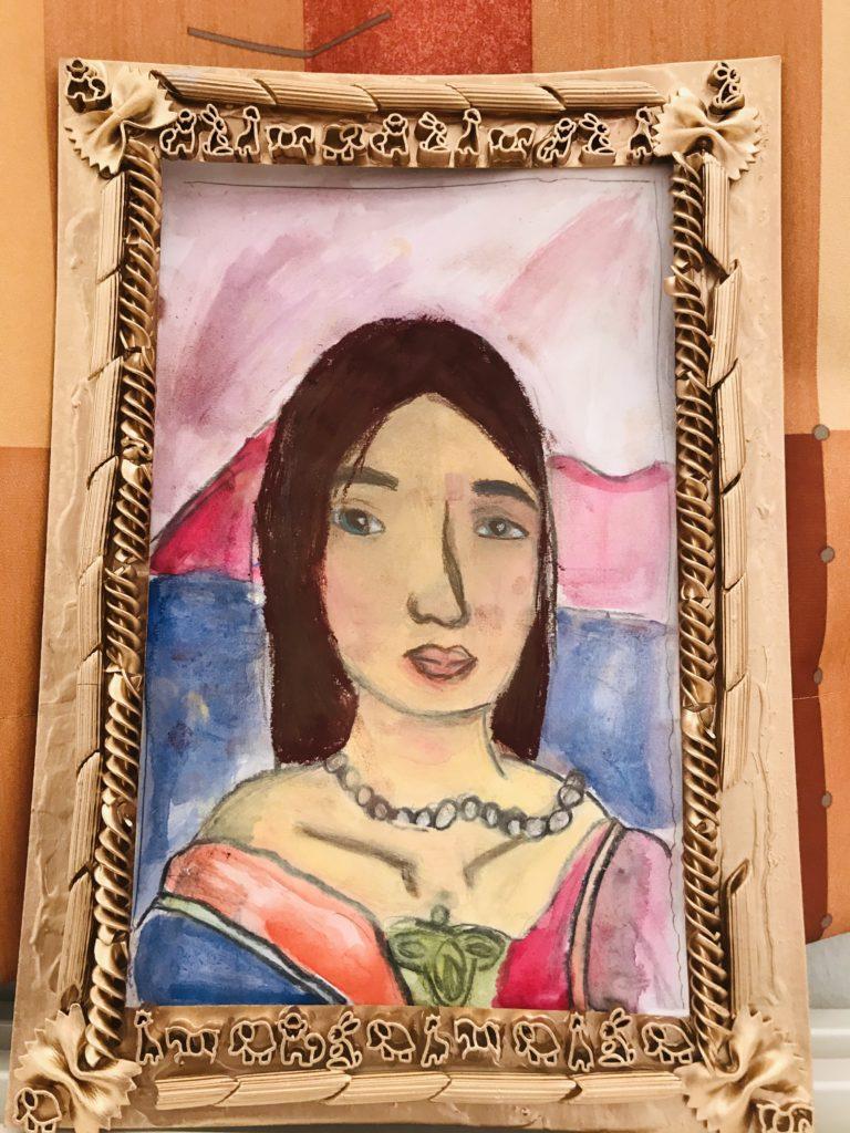 Kuudesluokkalaisen Lotta K:n upea maalaus Mona-Lisan hymystä